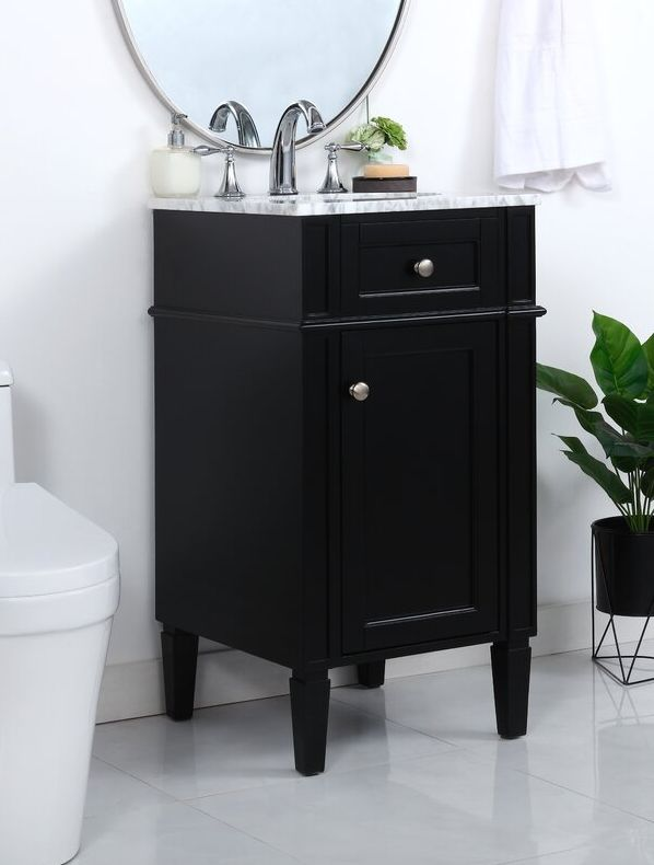 Compact vanity with a stylish marble top