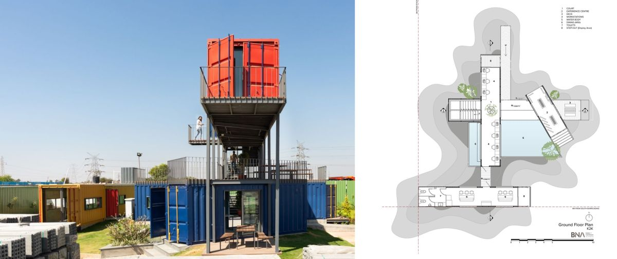 This is how the four containers have been arranged on the site in order to get the final configuration