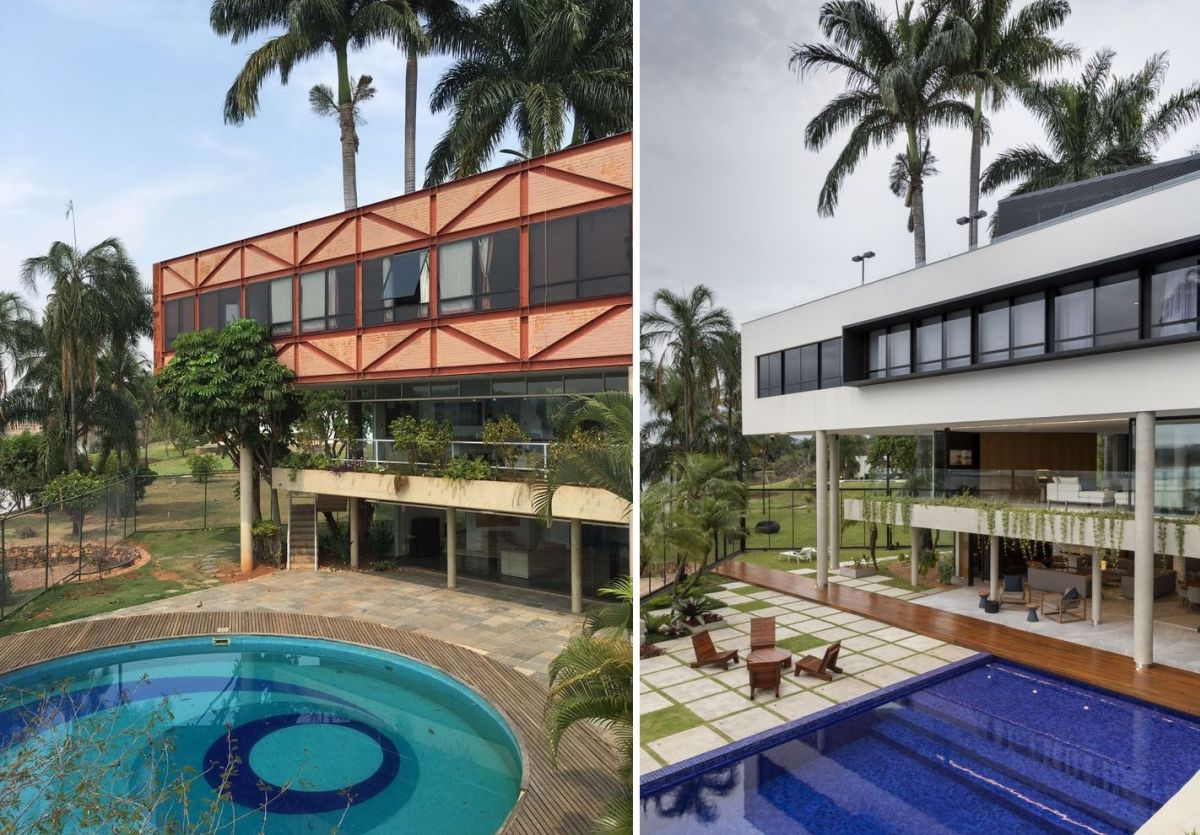Originally, the house has a circular pool which was replaced by a rectangular one, with room for a deck next to it