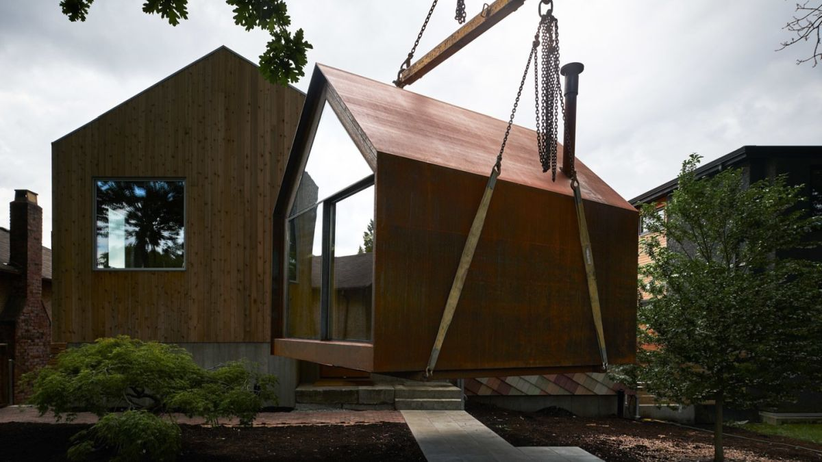 The cabin can be transported via crane and is small enough to comfortably fit even in a small backyard