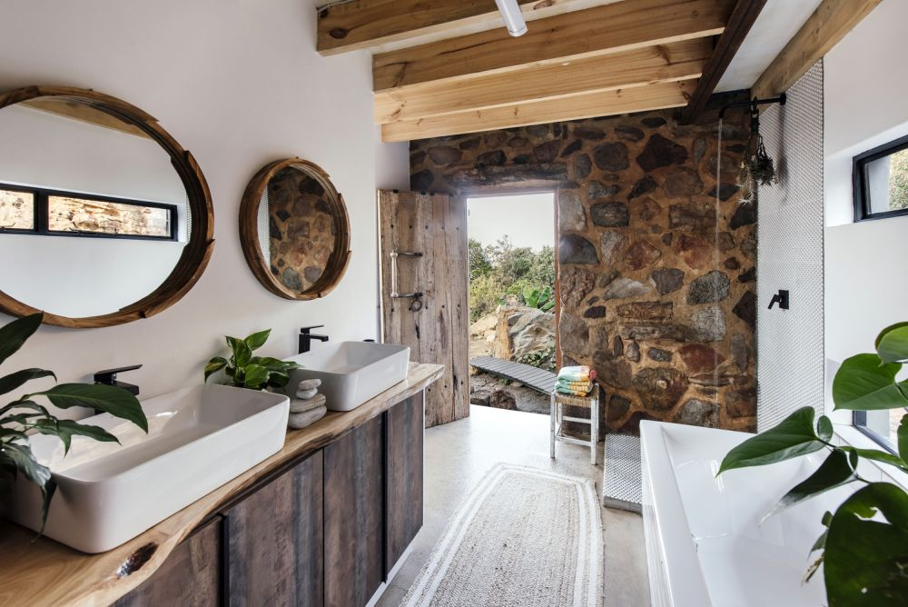 Stone accent walls were incorporated into just about every room of the house