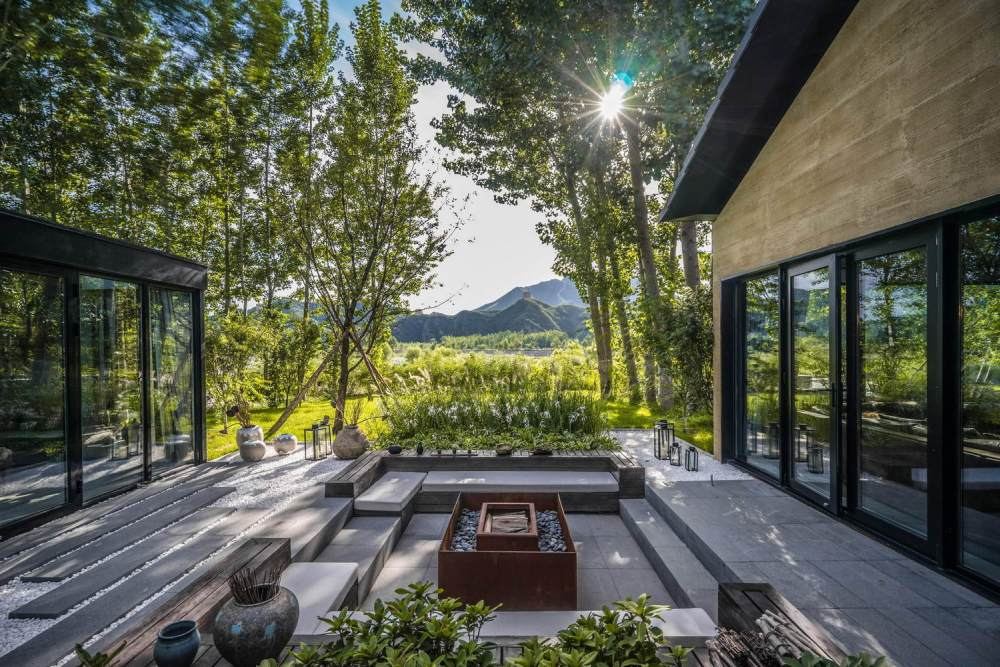 One side of the courtyard remains open and offers a beautiful view over the distant landscape