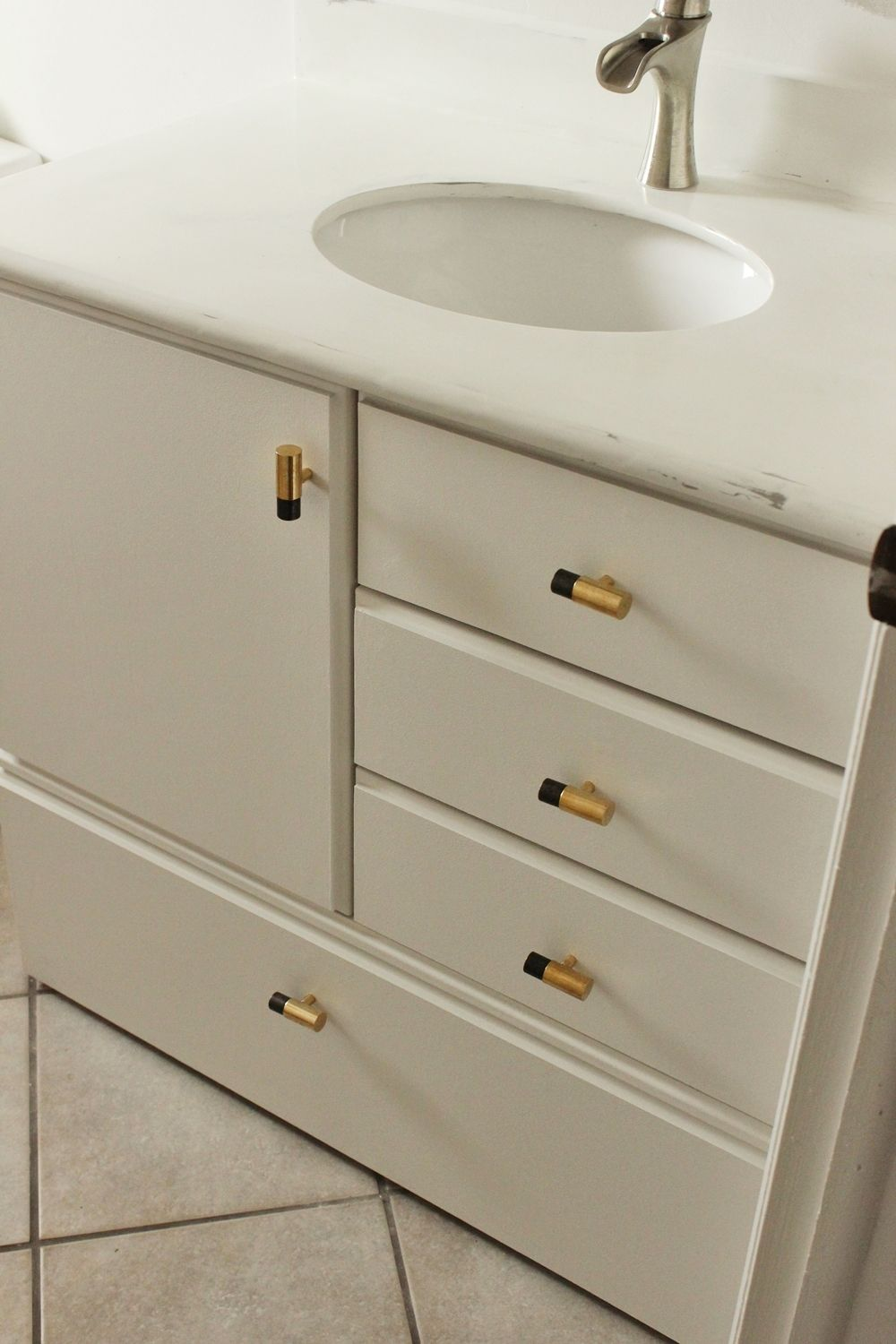 DIY Upgrade Bathroom Vanity With a gold touch