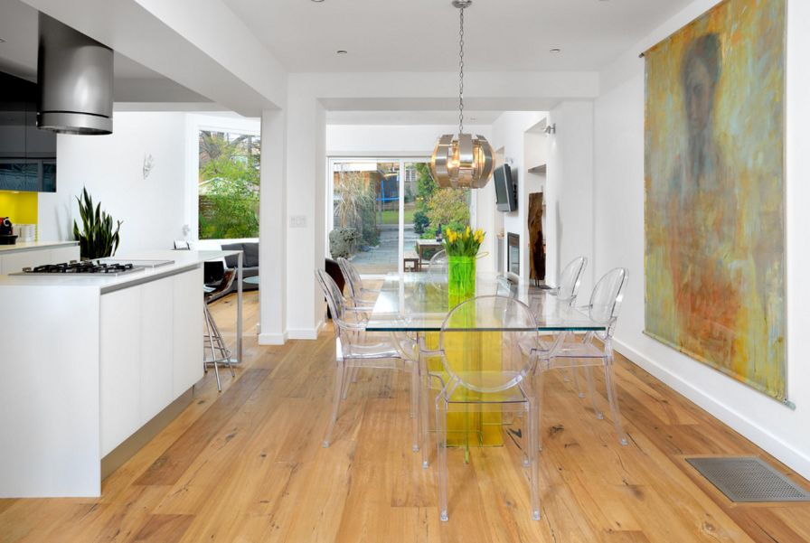 Dining room with acrylic chairs