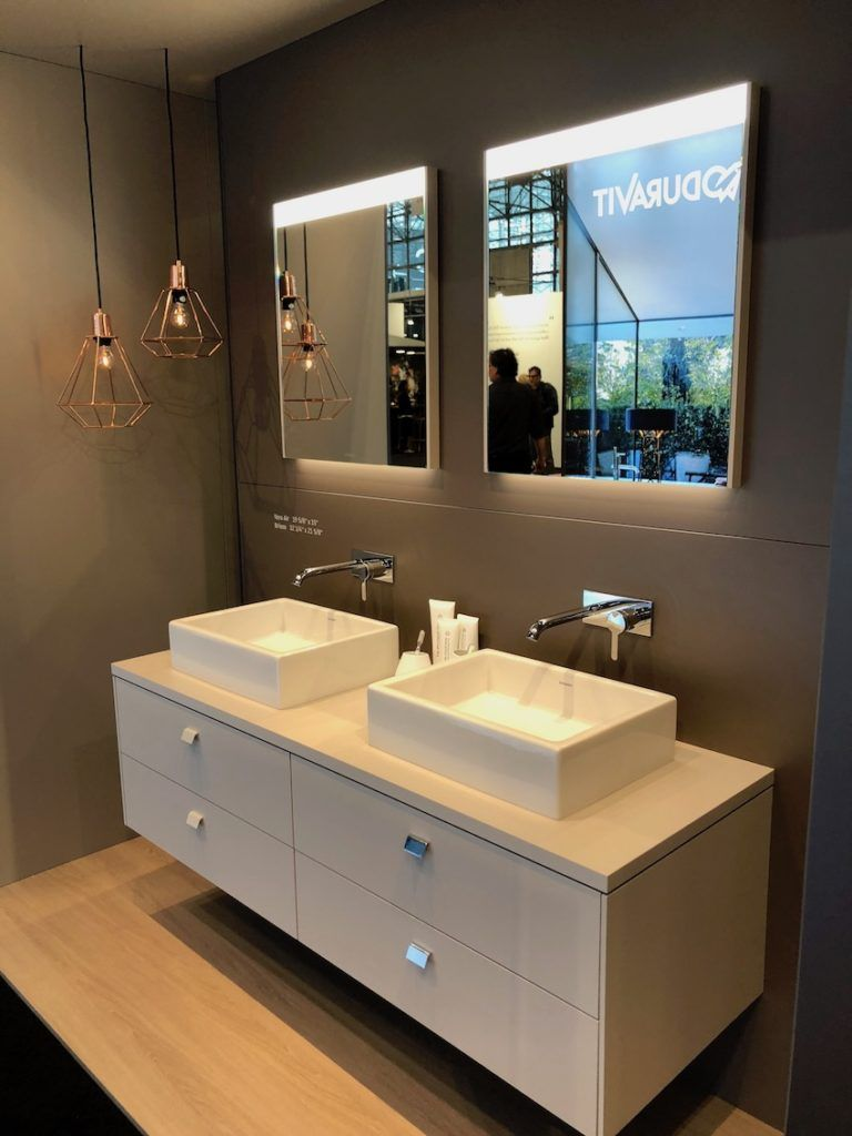 Wall-mounted vanities have cleaner lines and a lighter look.