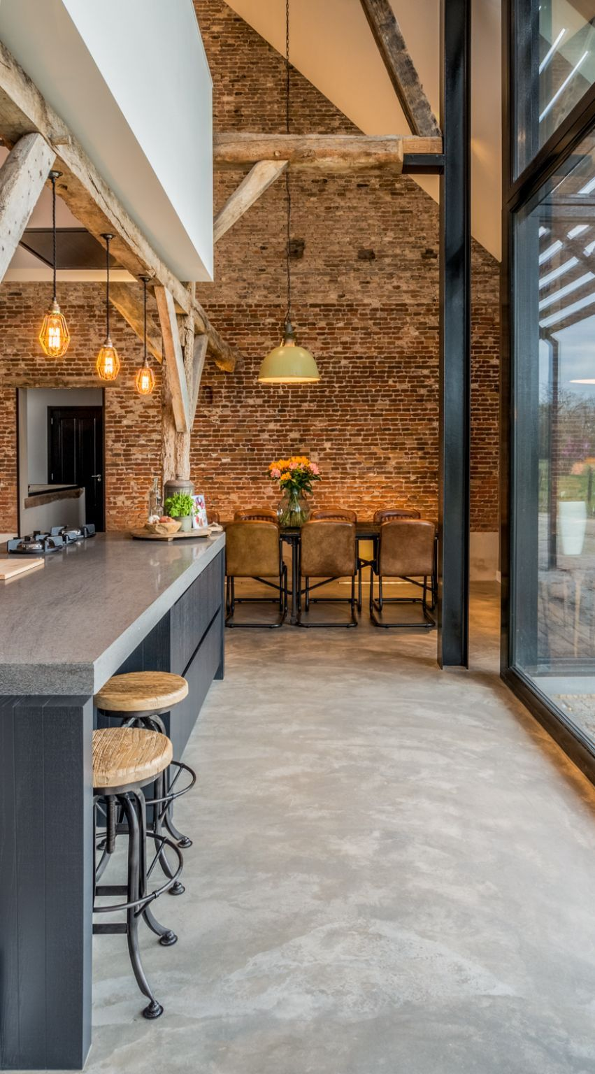 The concrete floor adds an industrial vibe to the house and also gives it a modern feel