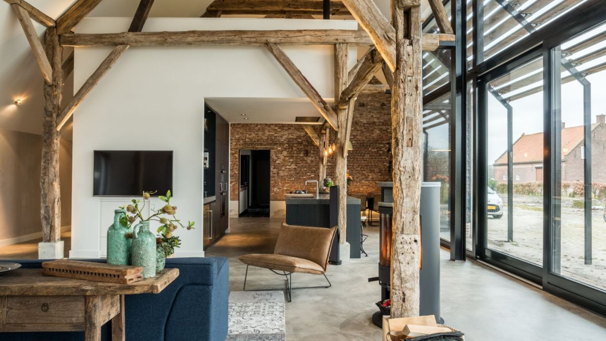 The interior living area is very bright and airy and enjoys a panoramic view of the surrounding landscape