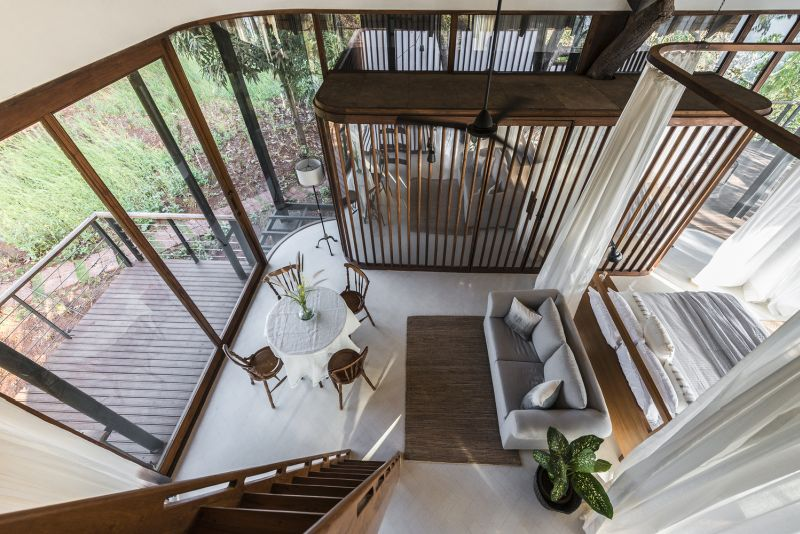 The interior is casually divided into several different areas, each with a distinct function