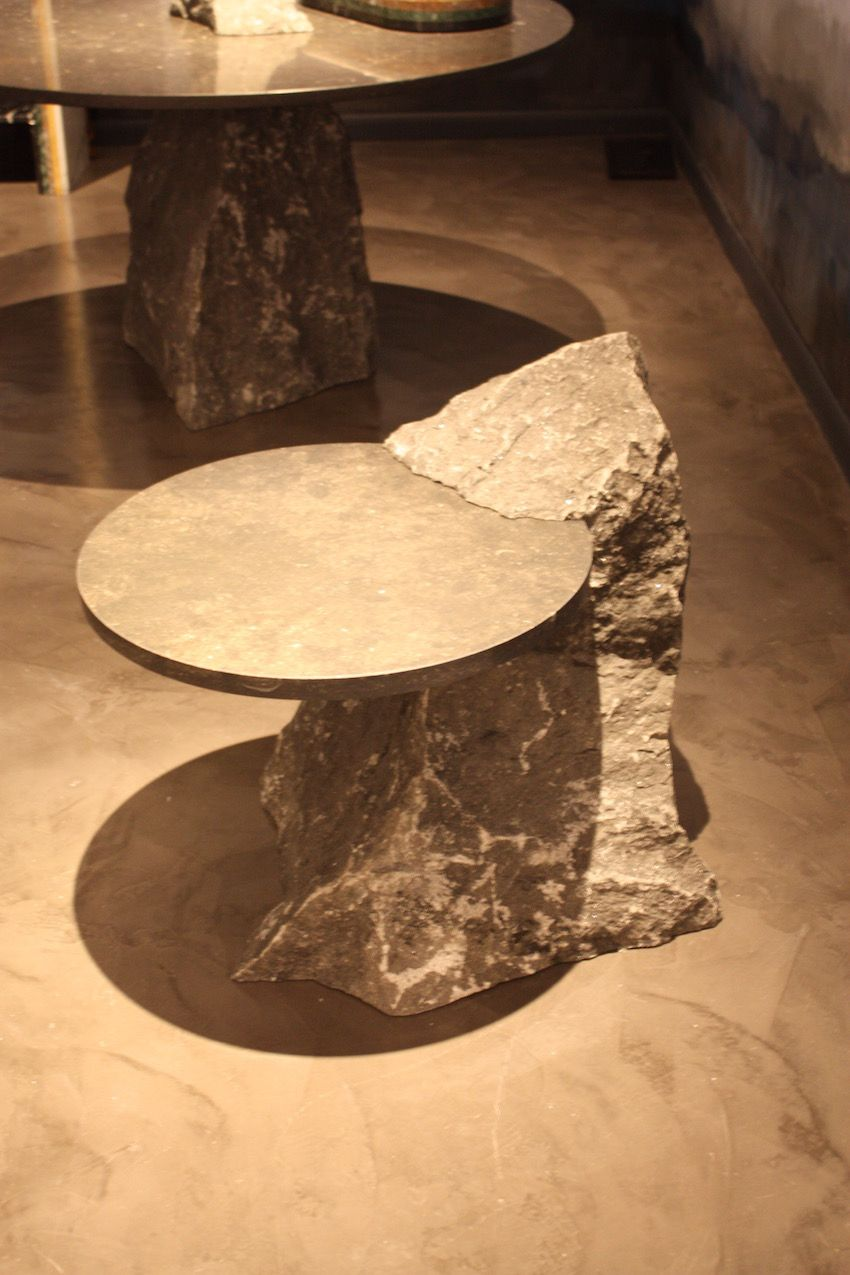 Rather than just make pieces from polished stone, Dutch designer Lex Pott, who is known for his reinterpretation of basic geometric shapes, let's the organic form of the stone feature in his pieces.