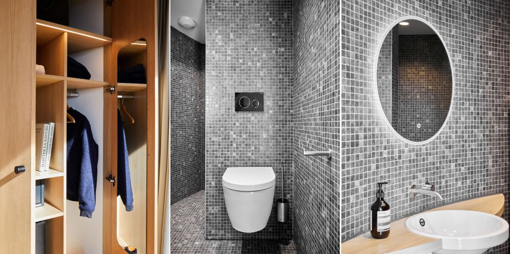 The rear section of the pod houses a small bathroom with a toilet and a shower