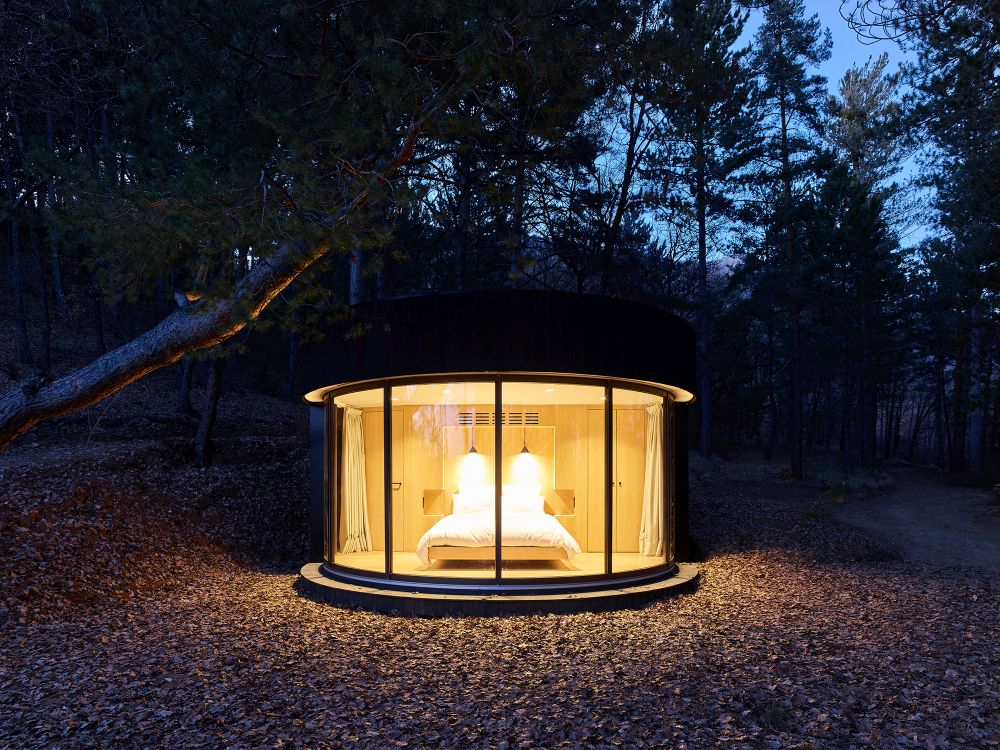 At night the pod resembles a giant lantern and glows in the dark illuminating the area around it