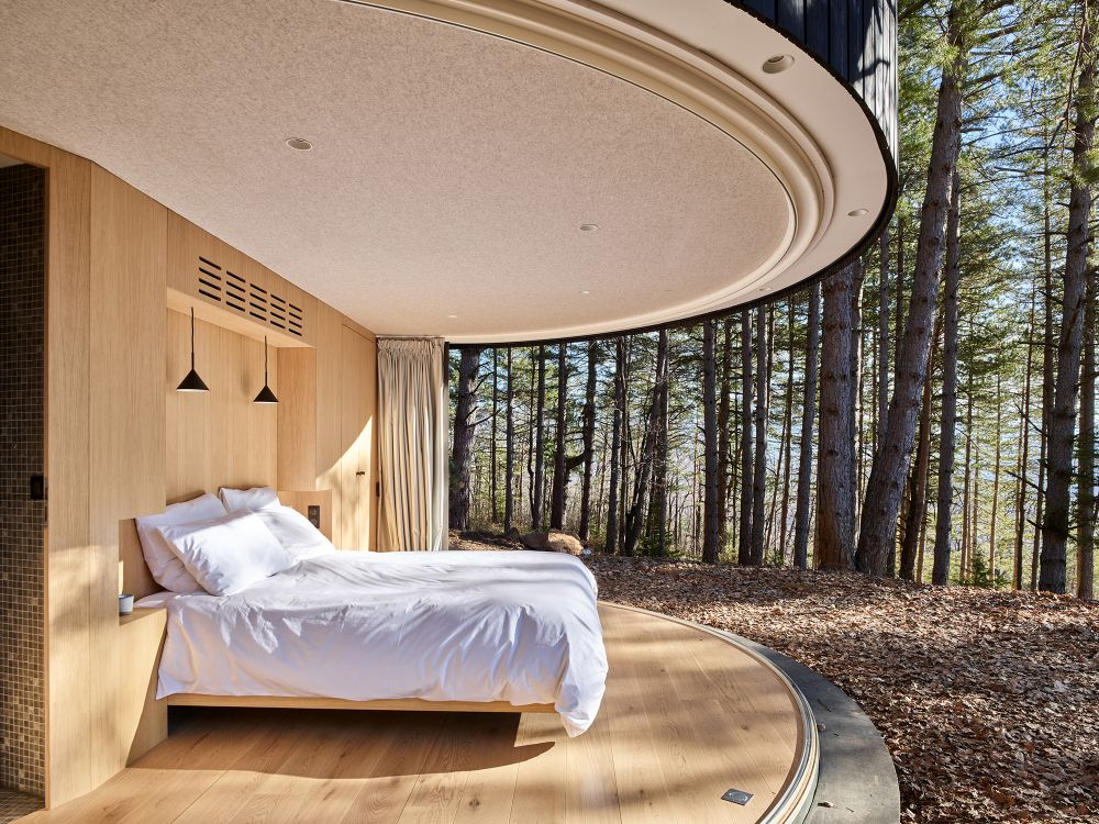 The pod has a tiny interior with a minimalist design and limited features