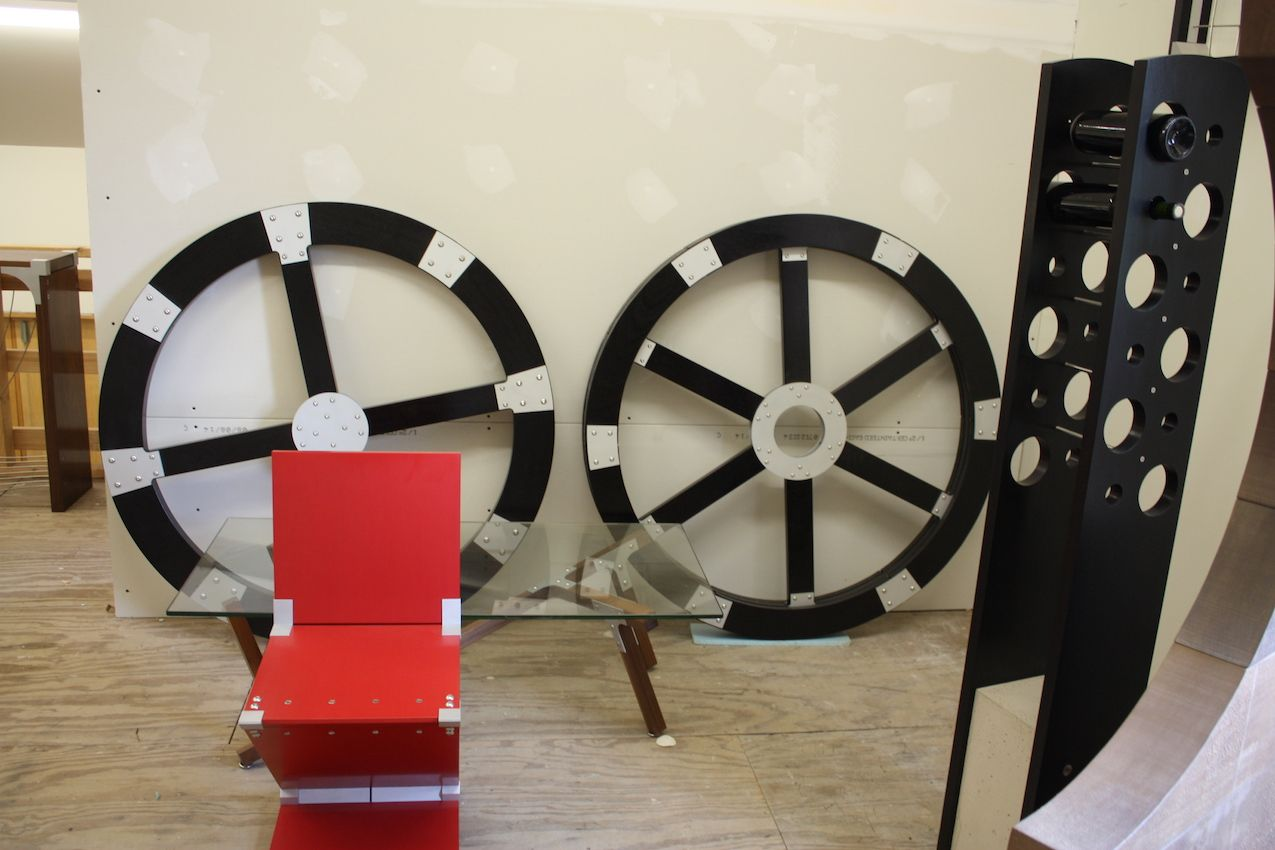 Furniture designer Peter Harrison wheels and chair