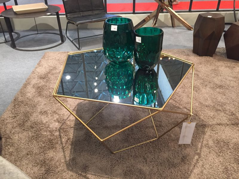 Geometrical gold base coffee table with glass top