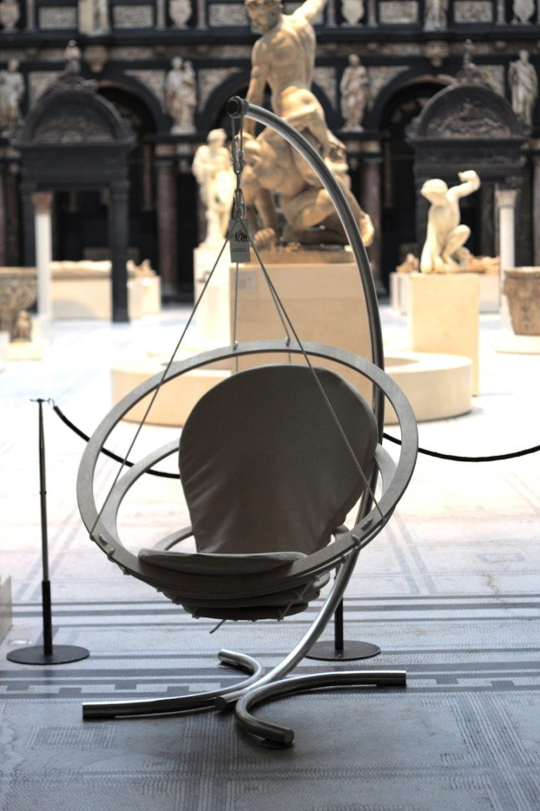The Circa Chair on a hanging stand.