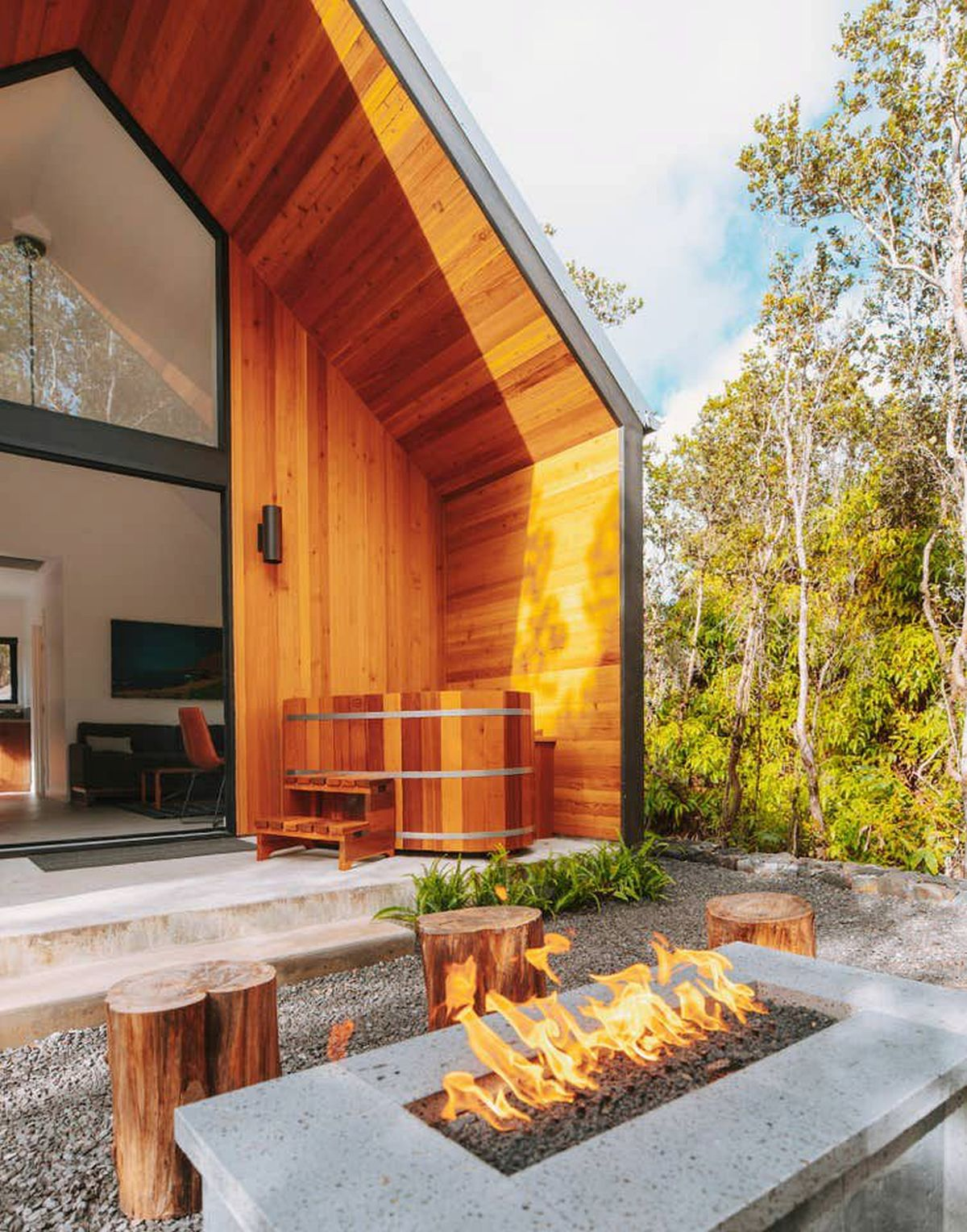 Out on the patio there's a deep soaking tub made of cedar wood
