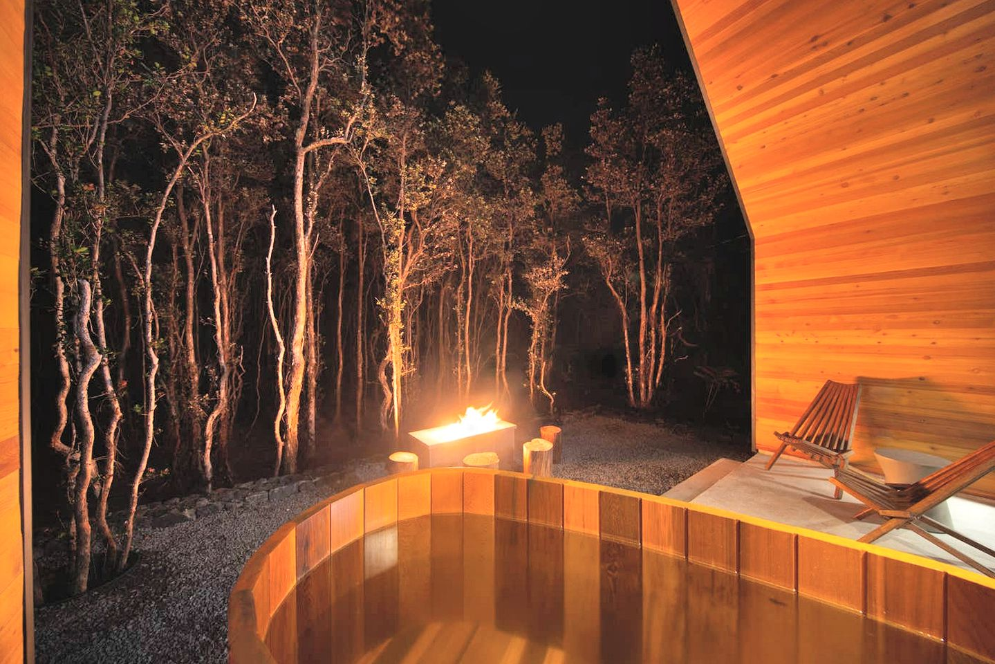 The cabin is surrounded by lush vegetation and by a forest which provide beautiful views