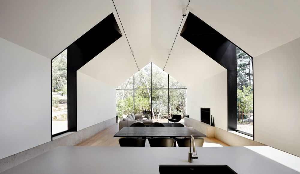 The living room, dining area and the kitchen are combined into a large room
