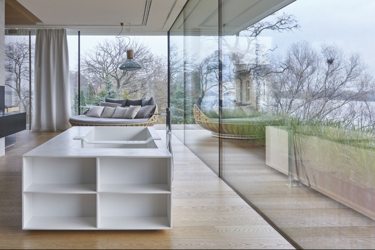 The living areas are very open and spacious and they seamlessly transition outdoors