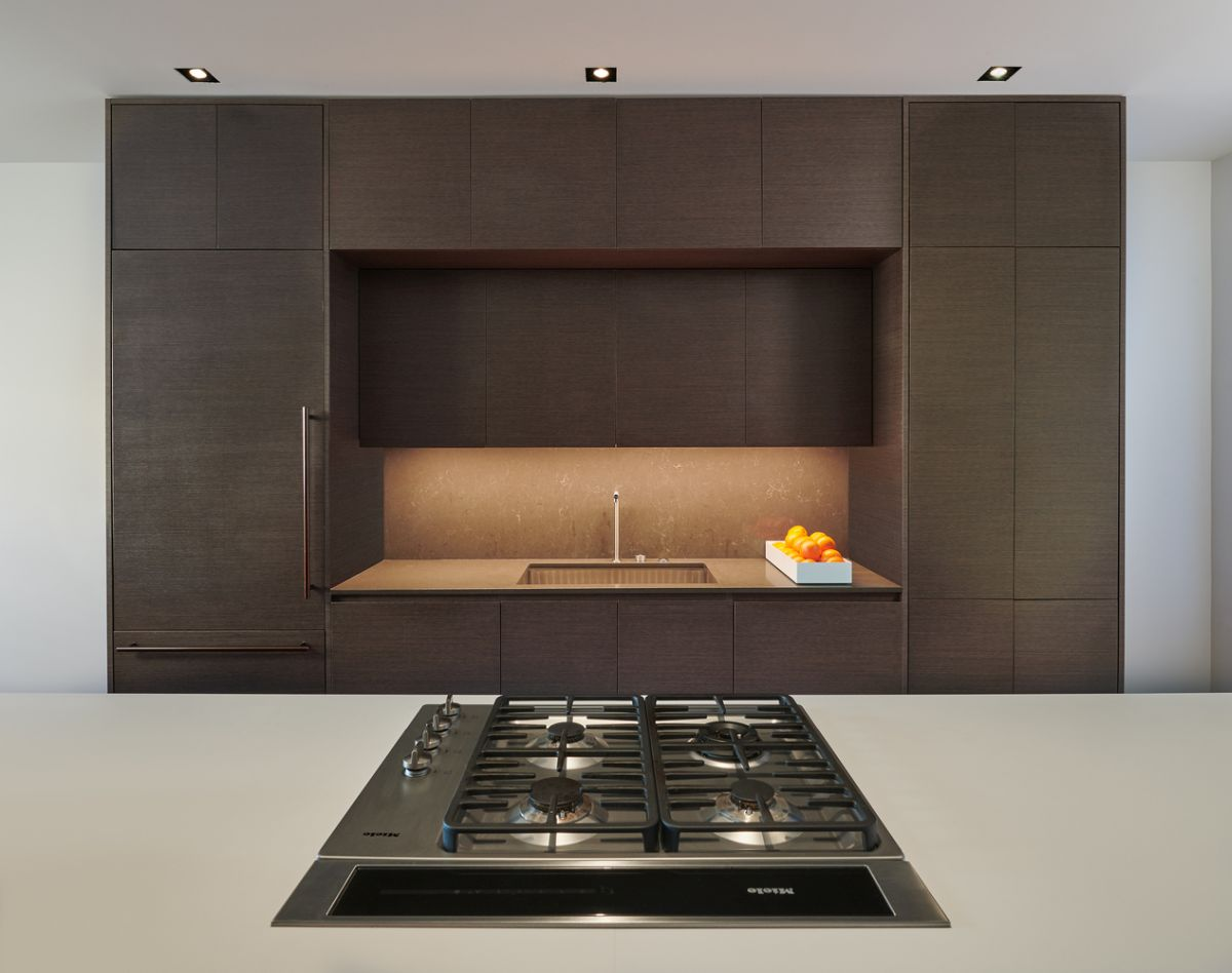 The palette of colors is not bold but it gives the kitchen personality