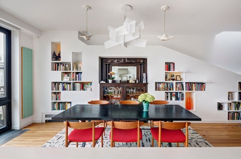 The dining area is open and part of the same floor plan as the living space