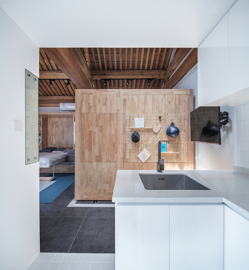 The kitchen occupies one of the corner areas and is small but very practical