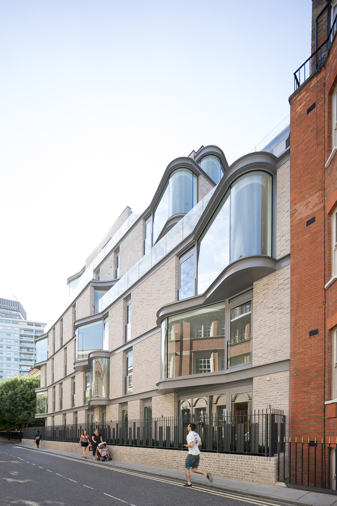 The eclectic nature of this design allows the building to fit really well into the surroundings