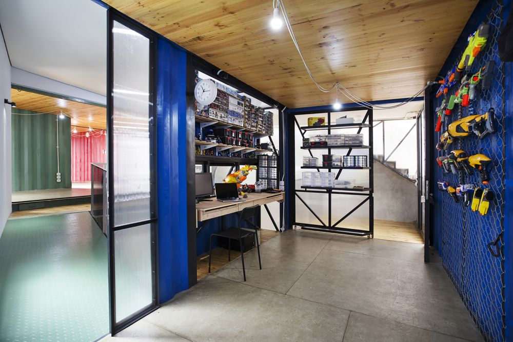 Another one of the containers has been turned into a hobby room, a perfect place for home projects