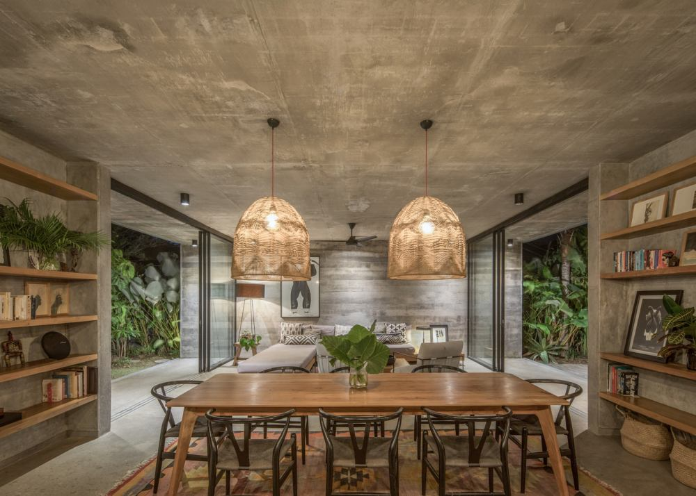 The natural wood and its color complements the concrete is a gorgeous manner
