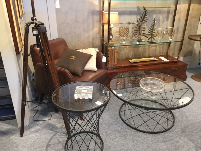 Industrial black wire base coffee table with glass top