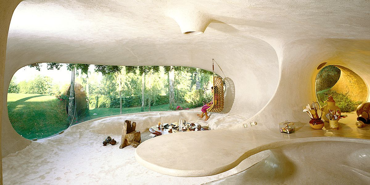The interior is surprisingly bright and airy thanks to the large, uniquely-shaped window