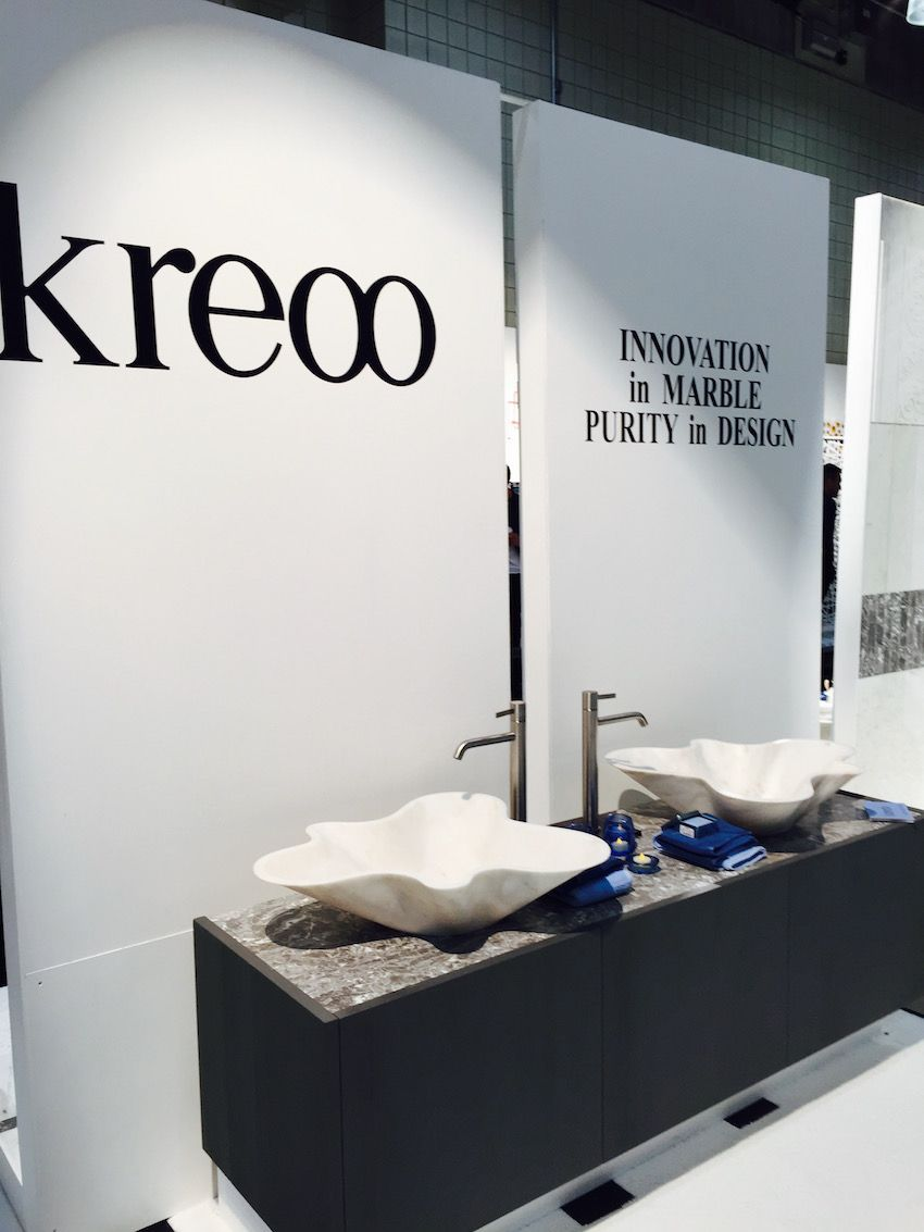 """Kreoo describes these hand-carved marble basins as having """"light curves that burst like a flower."""""""