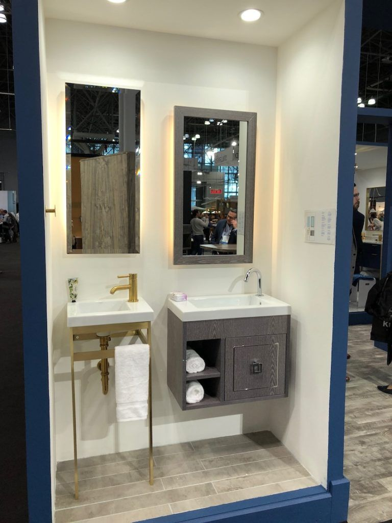 Today's small bathrooms have many more options for fixtures.