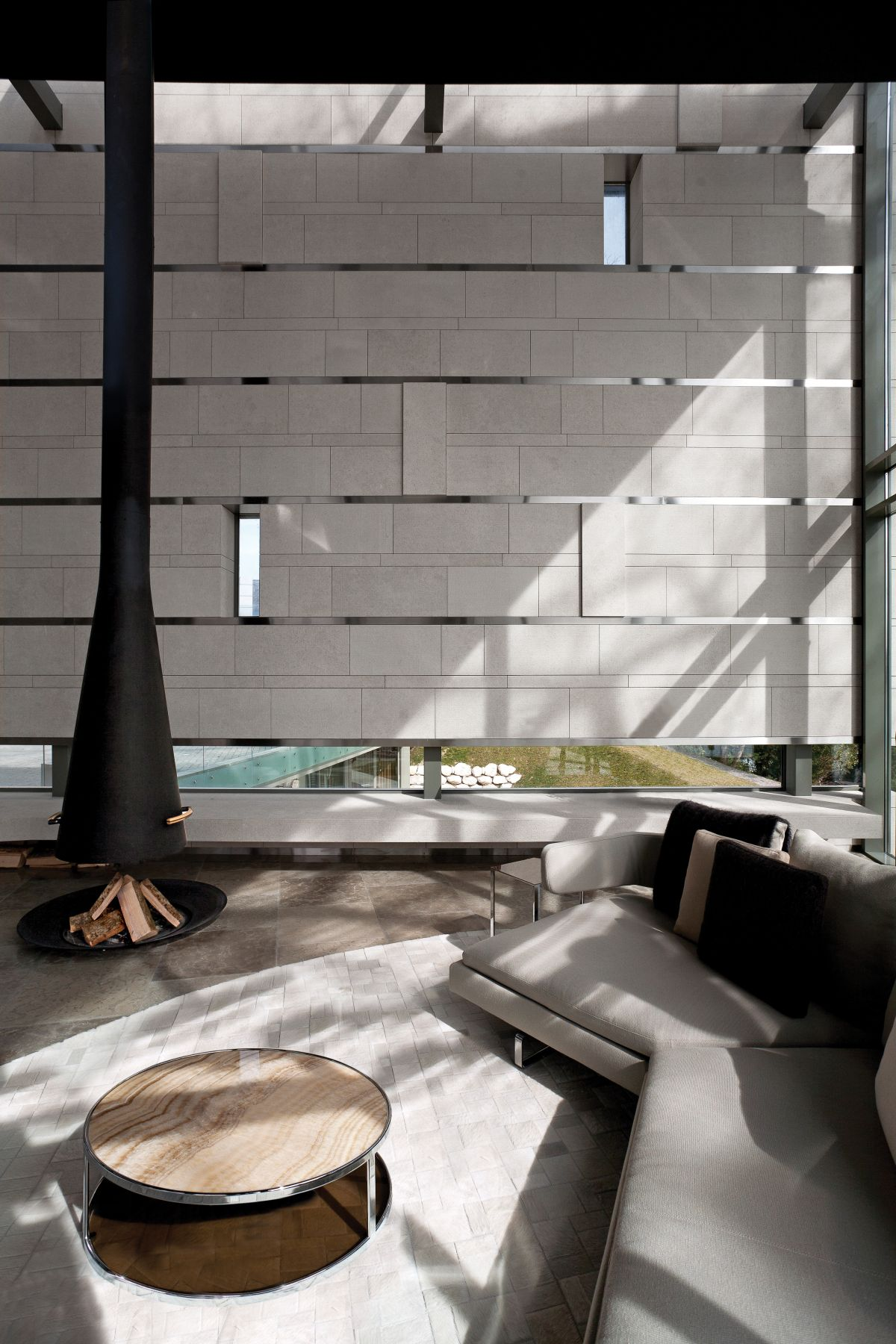 The formal and informal sections of the living area are combined within a large floor plan