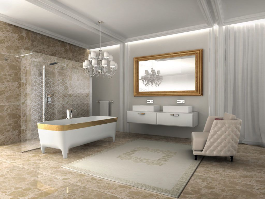 A larger, deep chair is an important piece in this spacious bathroom from Teuco.