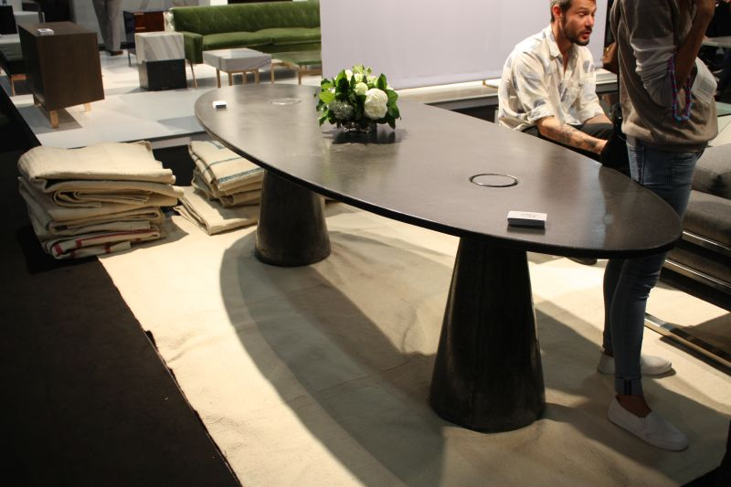 Large oval black dining table