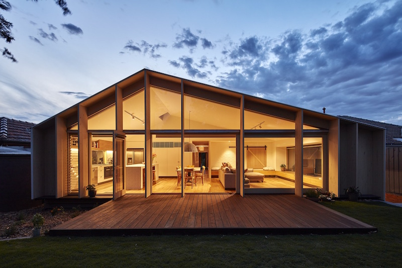 Lean To House wooden deck