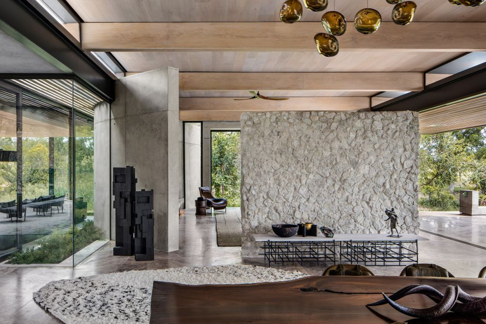 Many aspects of the interior design and decor are inspired by the outdoors