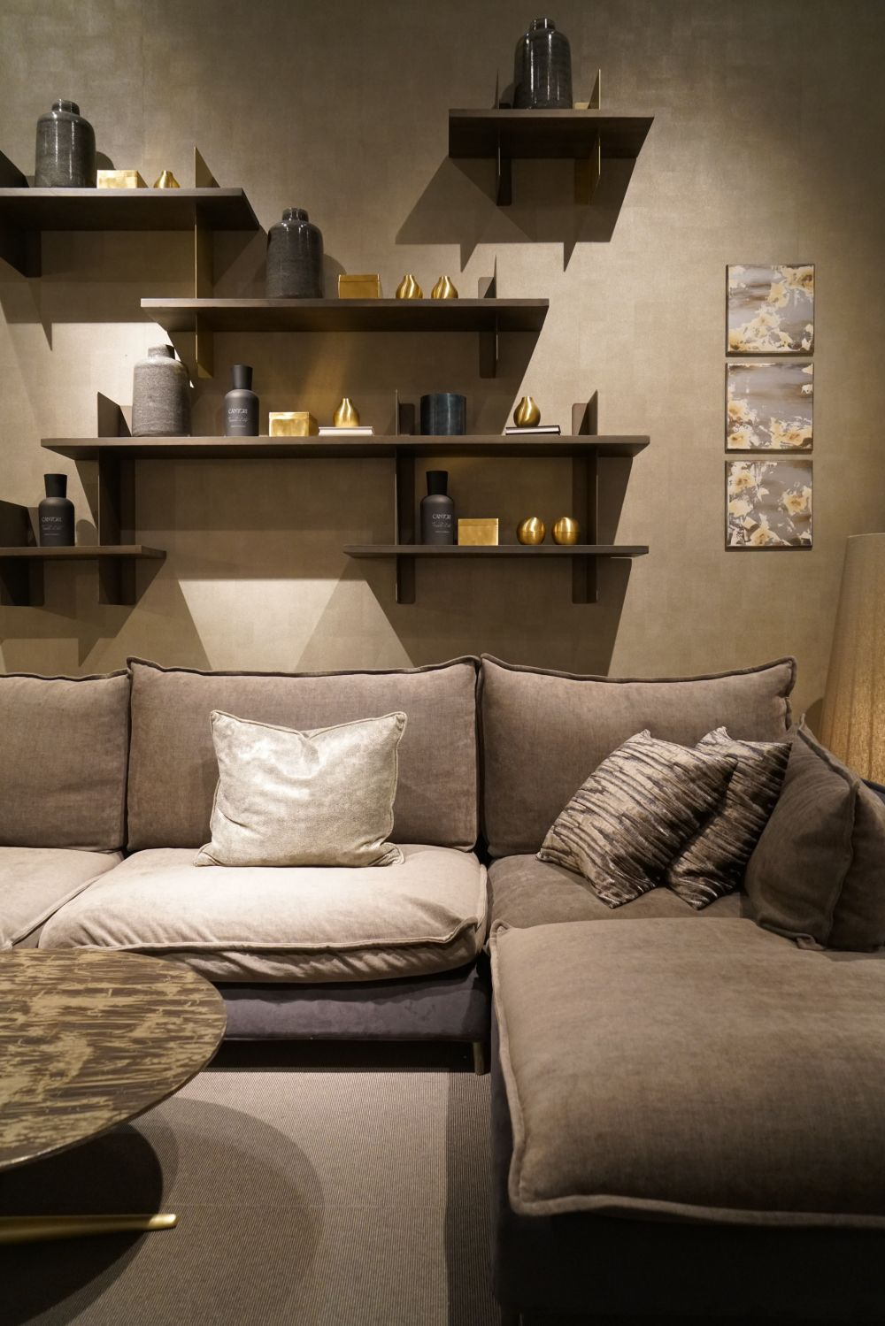 The shelves can be simple and bland and the focus can be on the items that you put on display on them