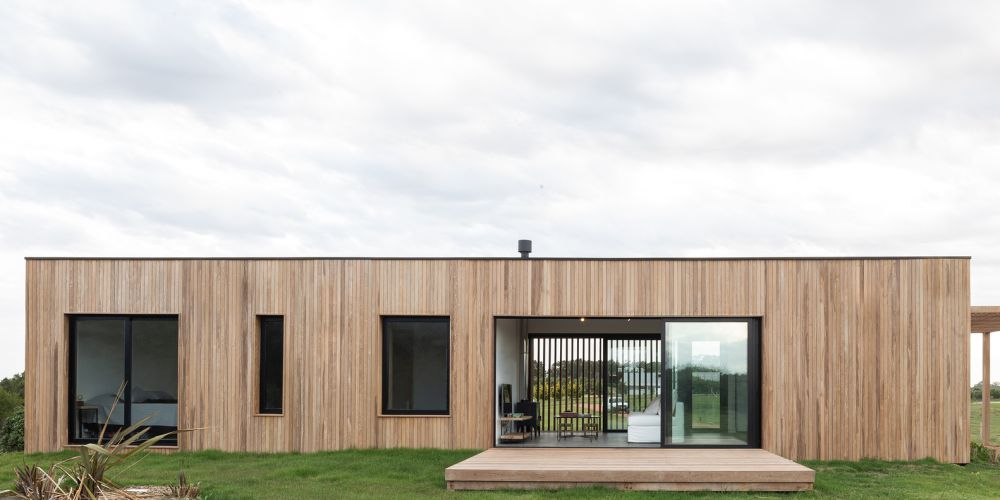 The wood chosen for the exterior weathers naturally and changes color and texture