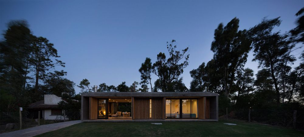 The wooden panels can be opened up in sections so only certain areas are exposed to the exterior