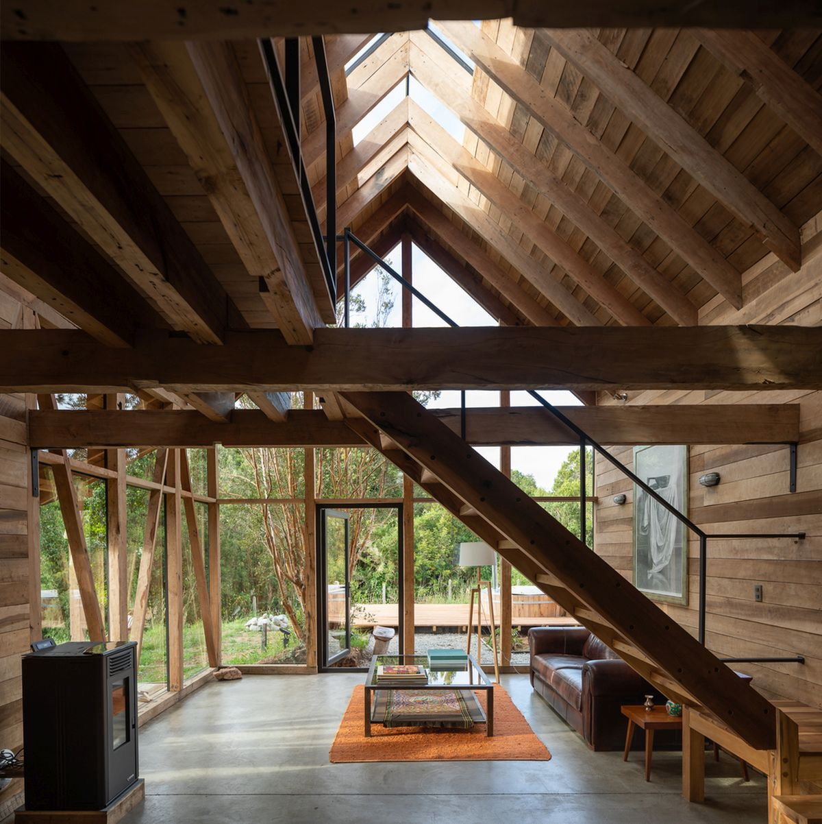 Skylights right at the center of the roof being more sunlight into the living spaces below