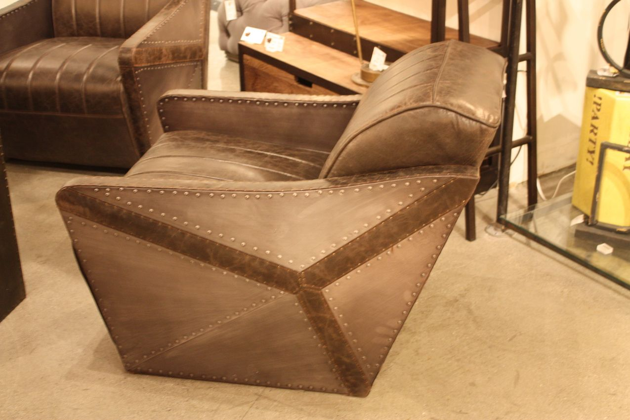 This cool chair combines metal and leather in an aeronautically inspired design.