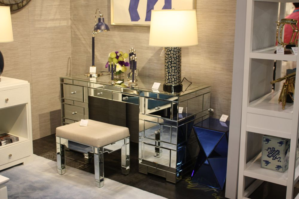 Pair a mirrored desk with a matching stool for a unified look