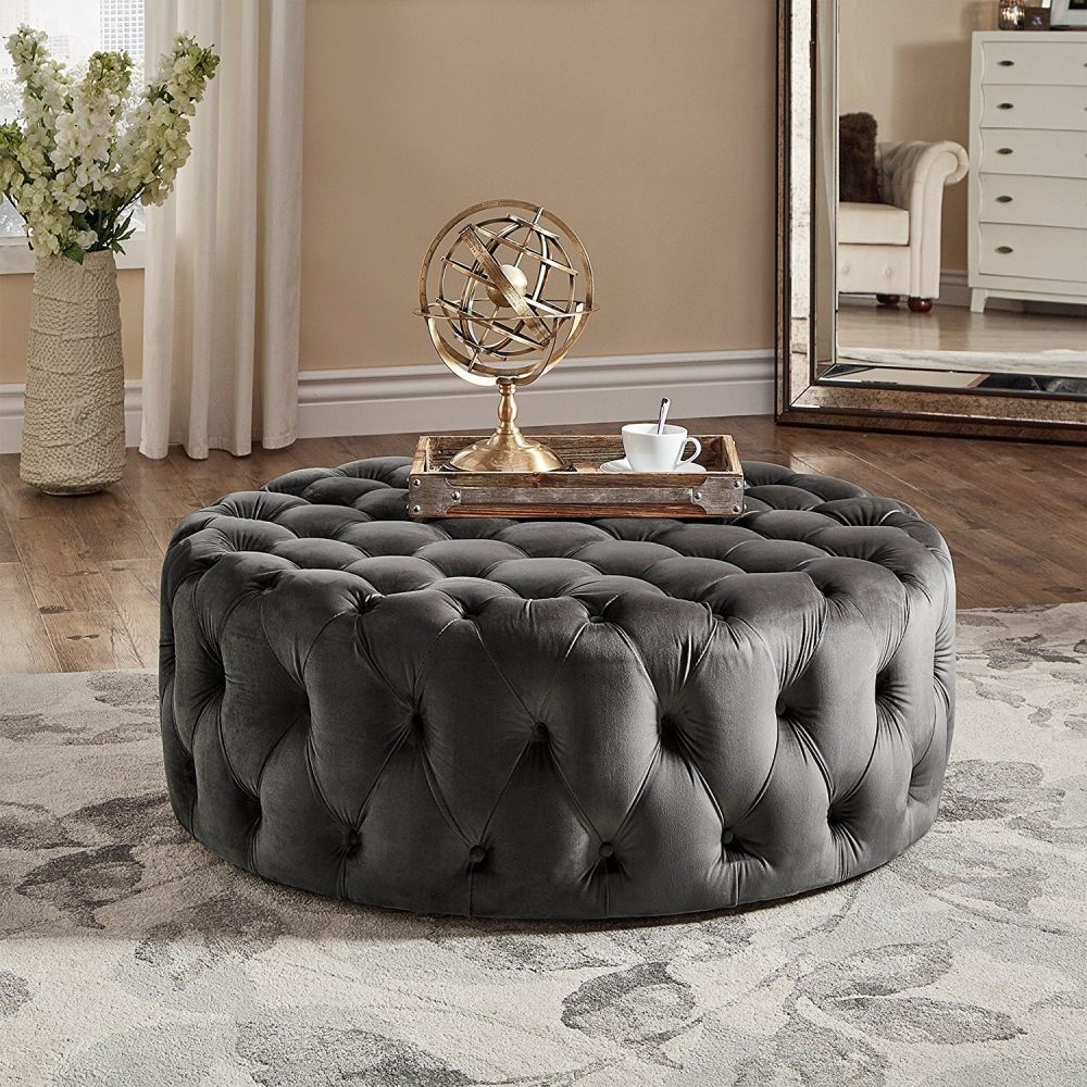 Modern Round Linen Tufted Cocktail Coffee Table Ottoman