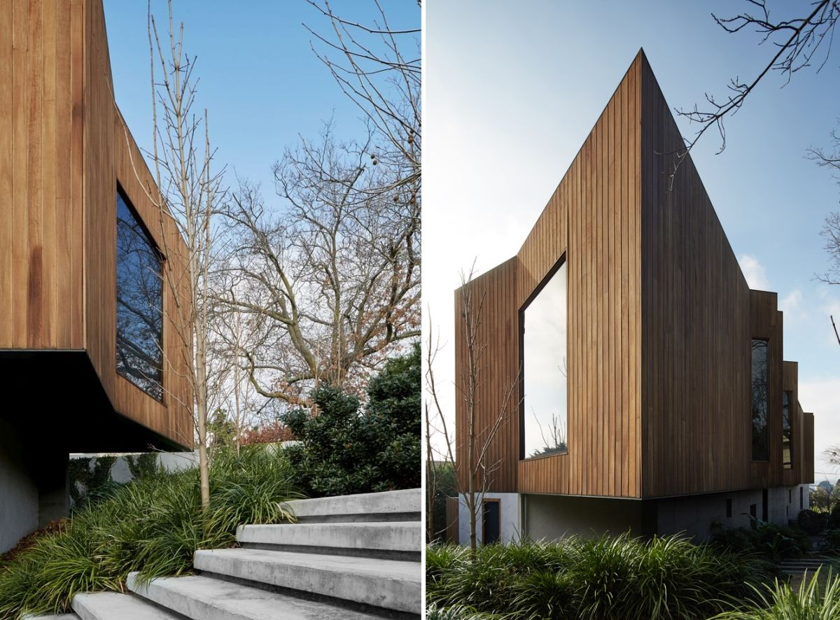 The timber-clad exterior gives the house warmth and character, helping it blend in with nature