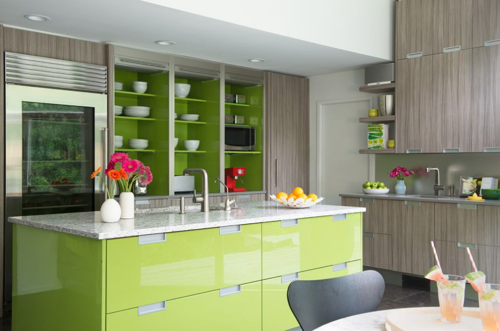 You can play with different shades of green to highlight certain aspects of the space