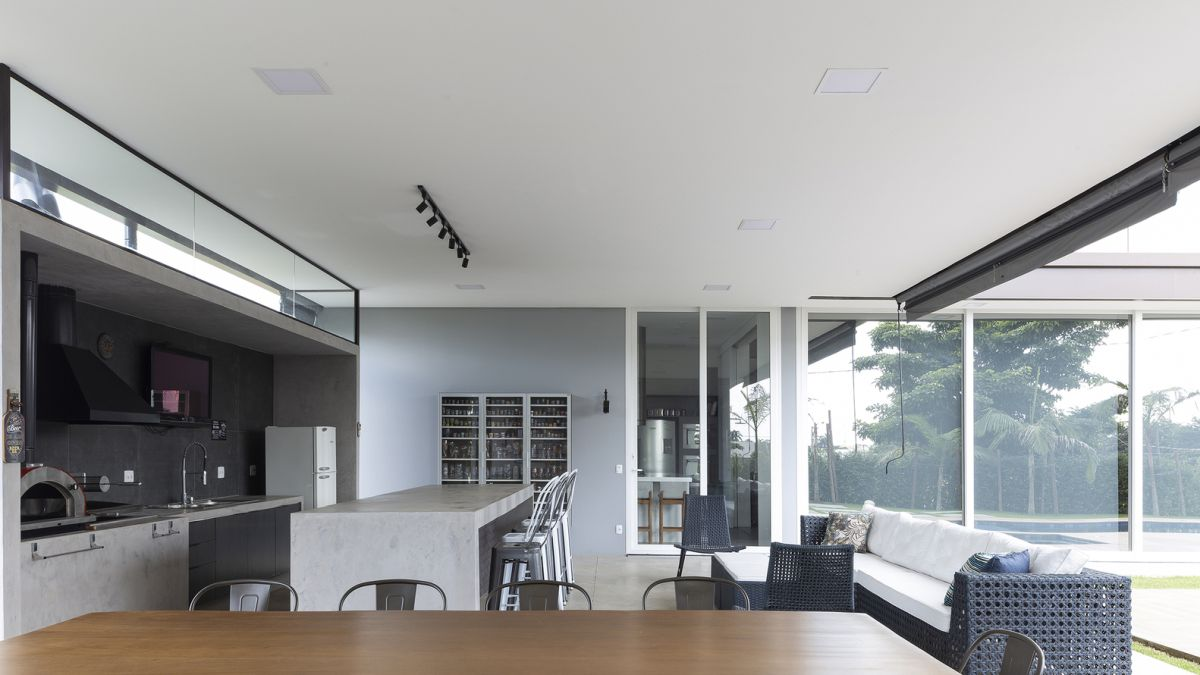 The kitchen, dining room and living space are all combined which makes sense given the style and configuration