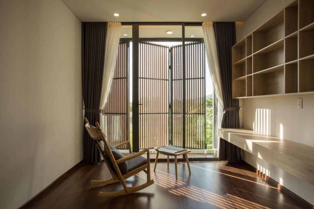 The shutters offer shade and privacy without completely blocking the light or the view