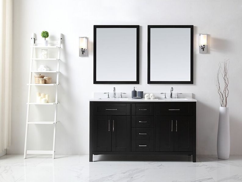 Modern vanity with a double sink top